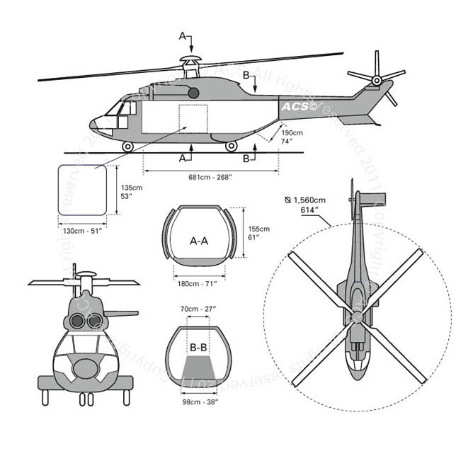 Layout Digram of EUROCOPTER AS-332 SUPER PUMA