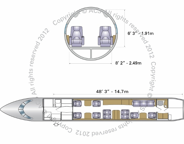 Layout Digram of BOMBARDIER GLOBAL XRS / 6000