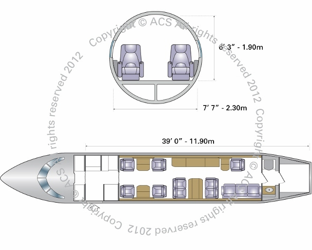 Layout Digram of DASSAULT FALCON 900EX DX LX