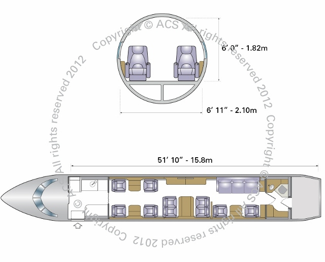 Layout Digram of EMBRAER LEGACY 600 650