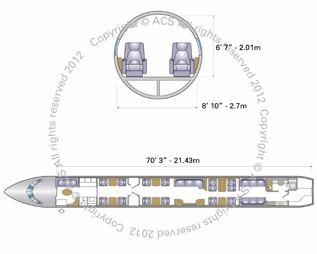 Layout Digram of EMBRAER LINEAGE 1000