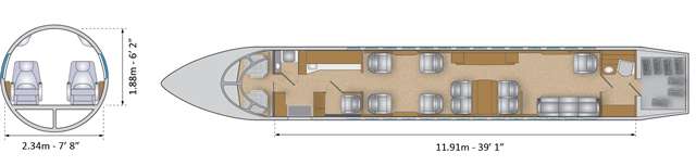 Layout Digram of DASSAULT FALCON 7X