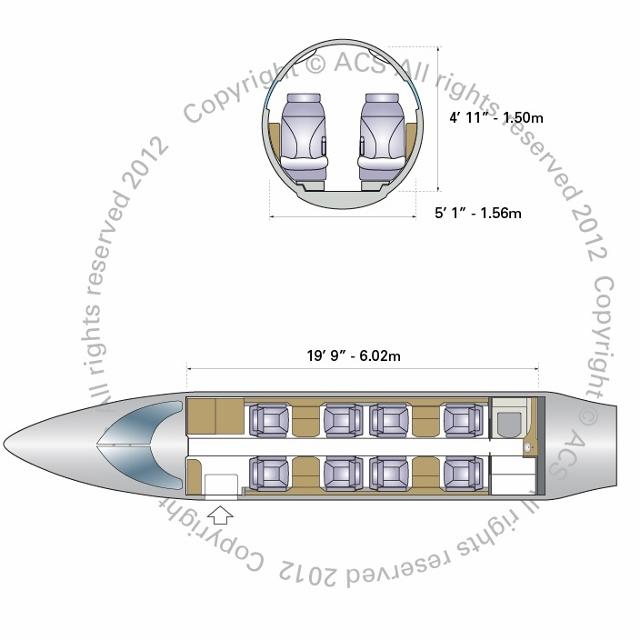 Layout Digram of BOMBARDIER LEARJET 45 45XR