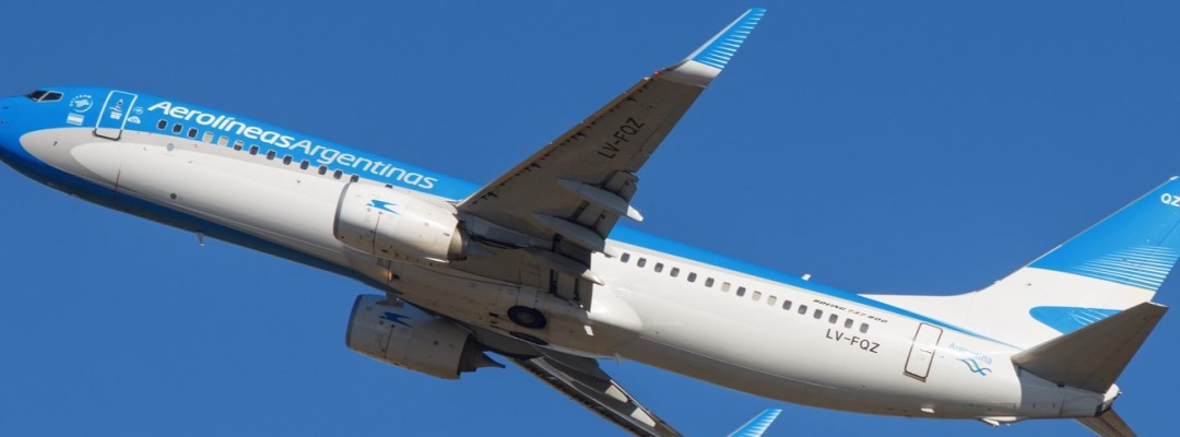 Aerolineas Argentinas in sky taking off