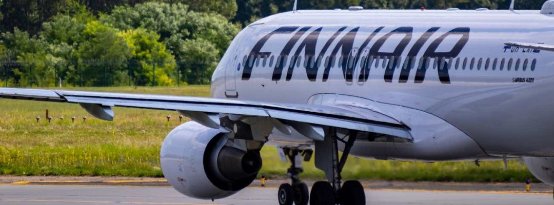 Finnair Airbus 320 D-AIN taxiing for take off at Budapest International airport.