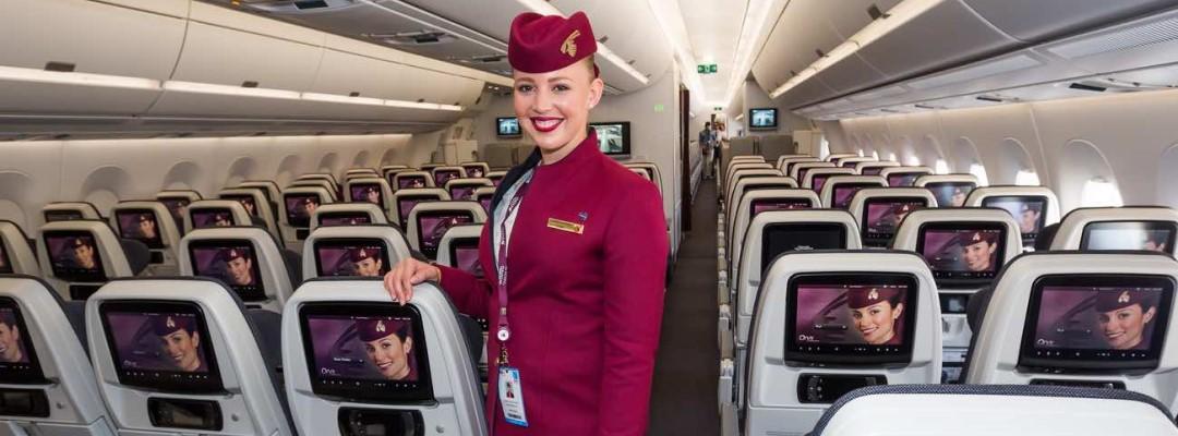 Qatar Airways Airbus A350 cabin crew member