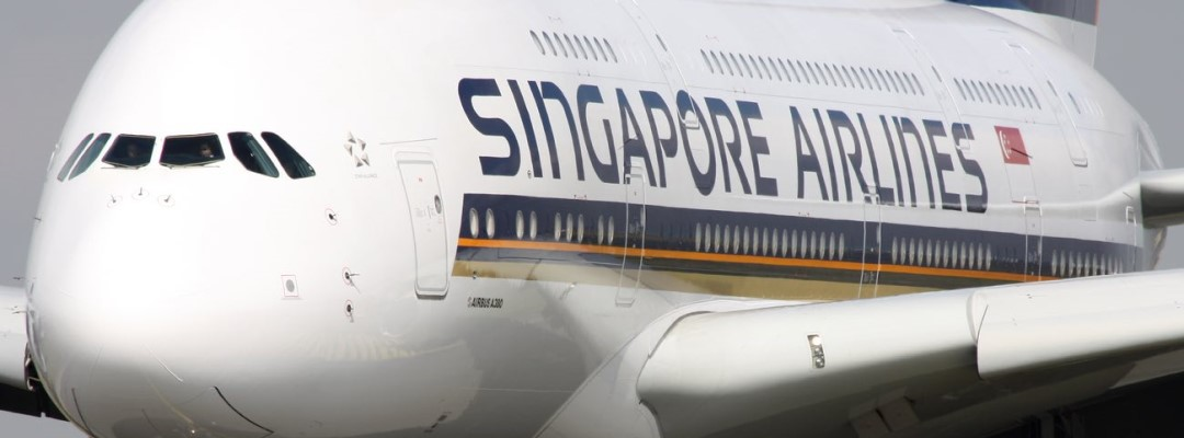 Singapore Airlines Airbus A380-841 taxis around CDG Airport
