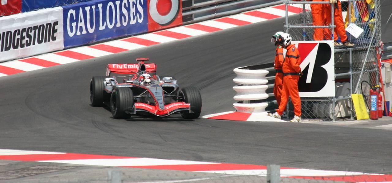 Racecar coming around the corner during the Monaco Grand Prix, 2005/2006