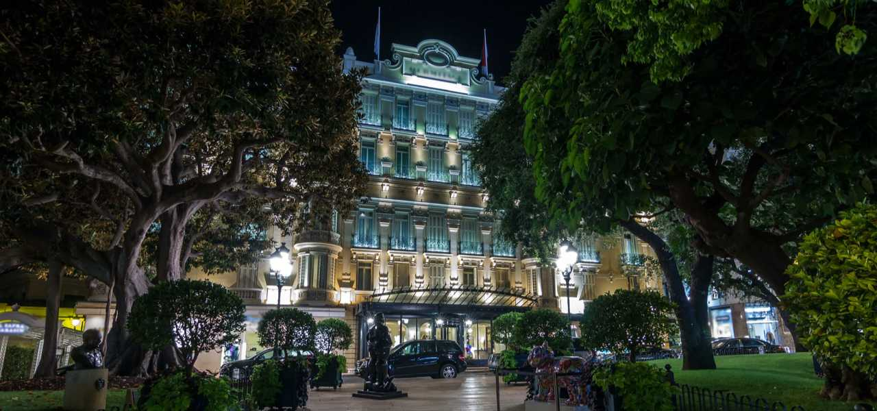 Hotel Hermitage in Monte Carlo illuminated at night