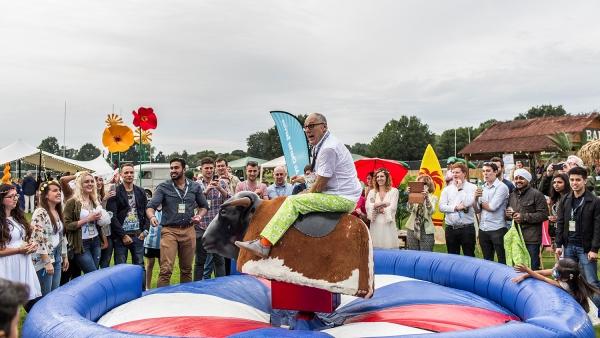 Chris Leach on the rodeo bull