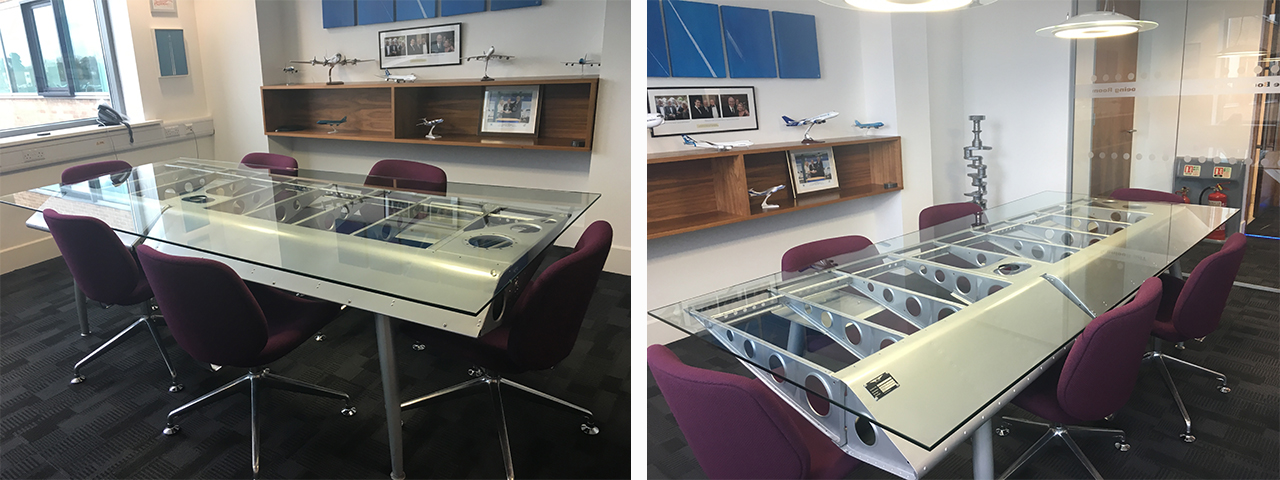 Upcycled aircraft furniture in Air Charter Service Boardrooms