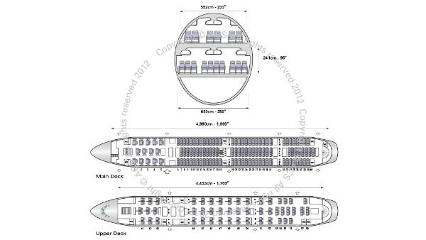 Airbus A380: the super jumbo can seat a maximum of 853 passengers, or 550 in a typical three class configuration