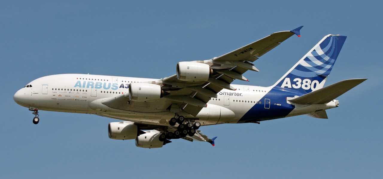 Commercial Airbus A380 in flight mode