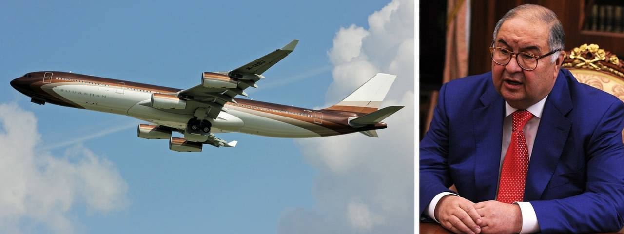 Alisher Usmanov on the right and his private jet in flight on the left