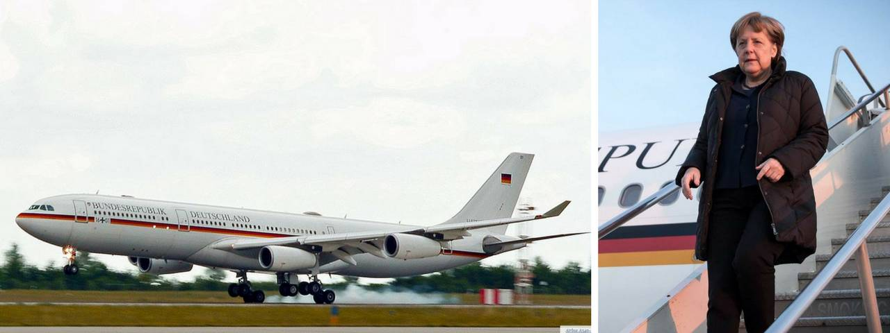 Angela Merkel on the right and her private jet landing on the left
