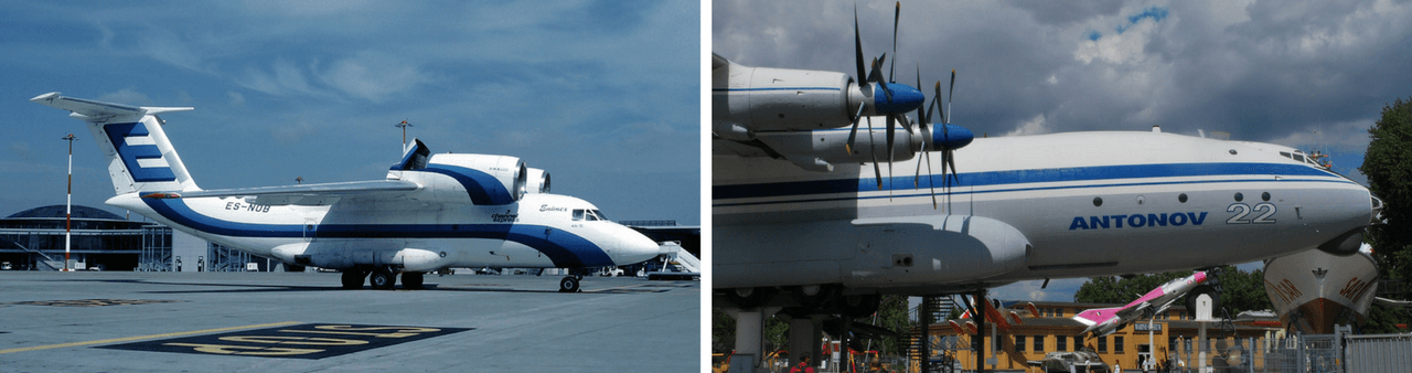 View of the Antonov AN-72 aircraft on the left and the AN-22 aircraft on the right