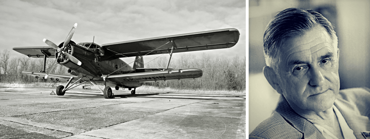 The first Antonov aircraft the AN-2 on the left and Oleg Konstantinovich on the right