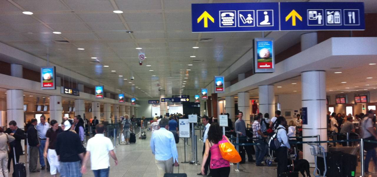 Inside busy terminal at Montreal International Airport