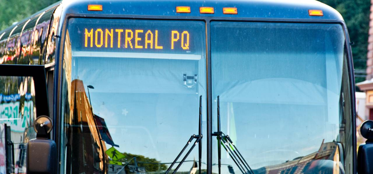 Bus in Canada headed to Montreal