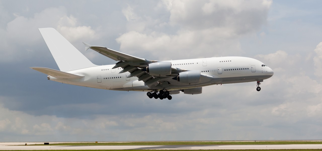 Large double-decker Boeing 747 taking off