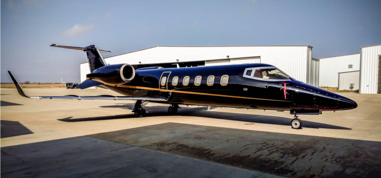 Parked black private jet
