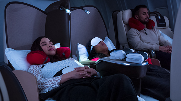 Lie flat seats on the VIP Boeing 767-300ER