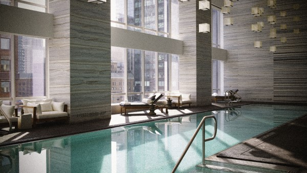 Luxurious Pool at the Hyatt Hotel, New York