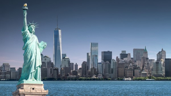 The Statue of Liberty with Lower Manhattan background