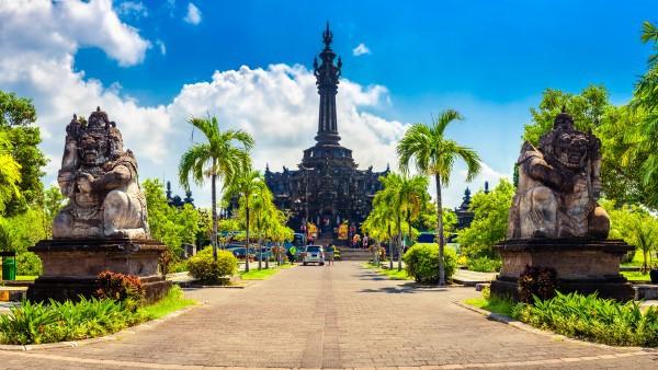 Traditional Balinese Hindu Temple Bajra Sandhi Monument in Denpasar, Bali Indonesia