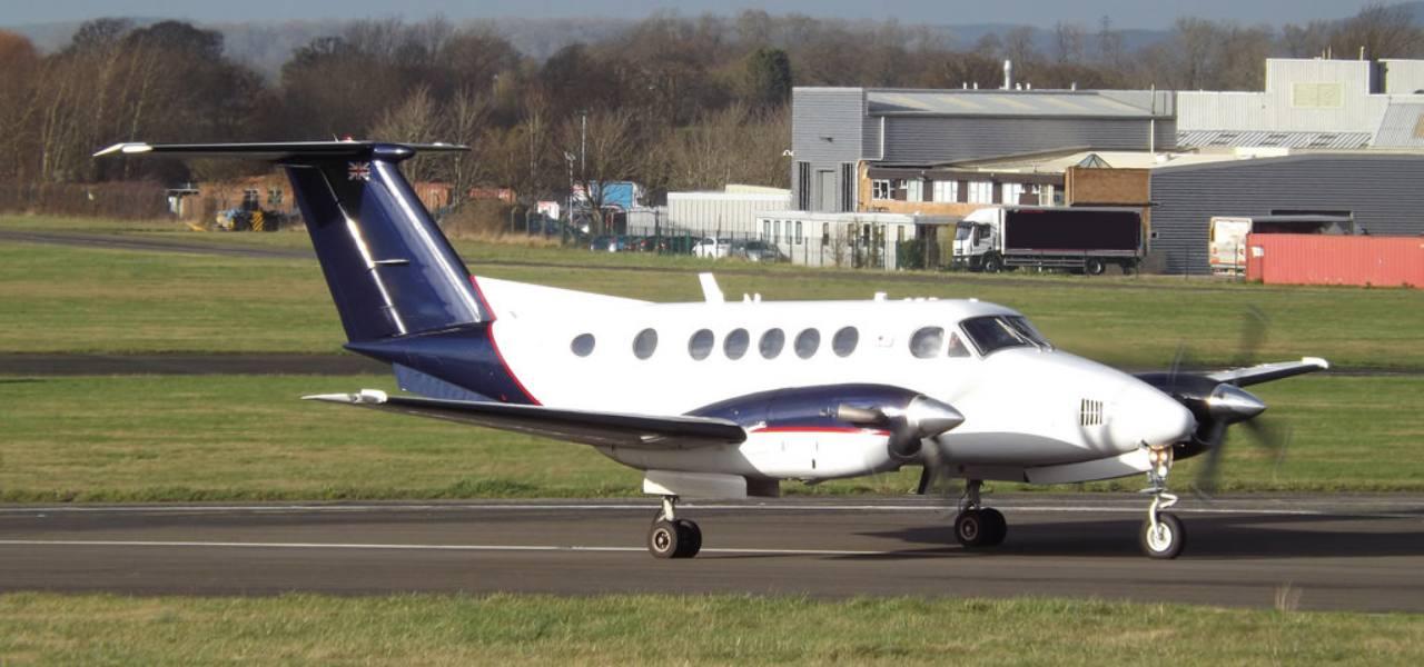 A Beechcraft King Air 200 on the tarmac