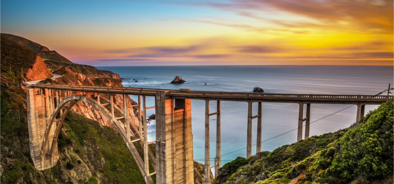 Bixby Bridge on the Pacific Coast Highway at sunset in California