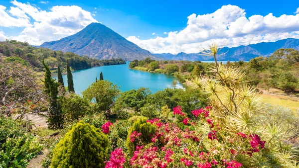 Lake Atitlan with views of Volcano San Pedro in the Guatamala highlands