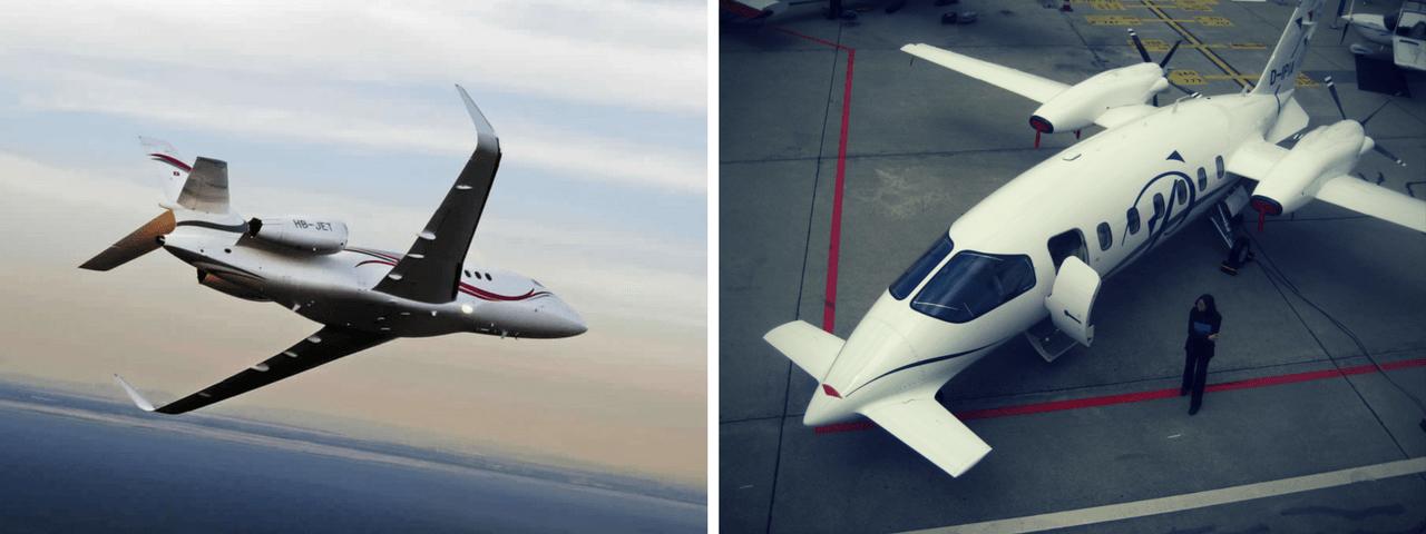 Dassault Falcon 2000 and the Piaggio Avanti P180 II