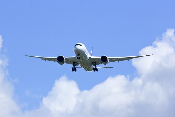 Boeing 787 preparándose para aterrizar.