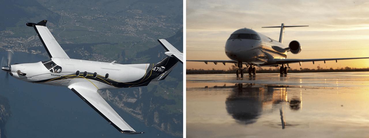 Pilatus PC-12 and Bombardier Challenger 850