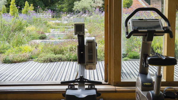 The gym facilities at the Lime Wood Hotel & Spa