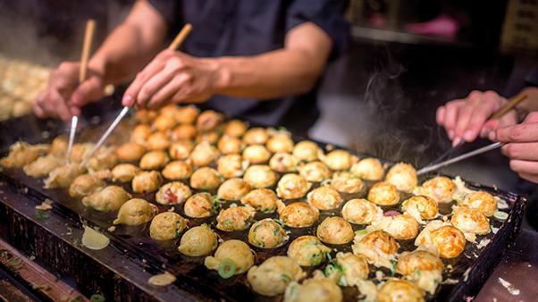 Tokyo street food being prepared