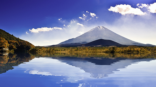 View of Mount Fuji across the water