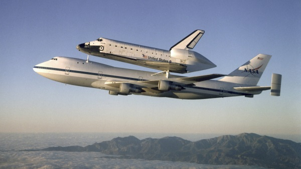 Modified Boeing 747 carrying NASA Space Shuttle