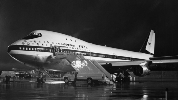 Photo of a Boeing 747, a wide-bodied passenger jet airplane that was the original jumbo jet