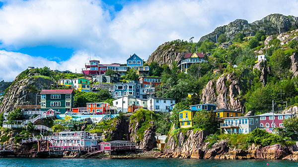 The coloured buildings of St Johns Harbour