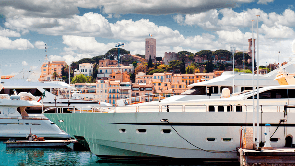Luxury summer escape yacht in Cannes port French Riviera