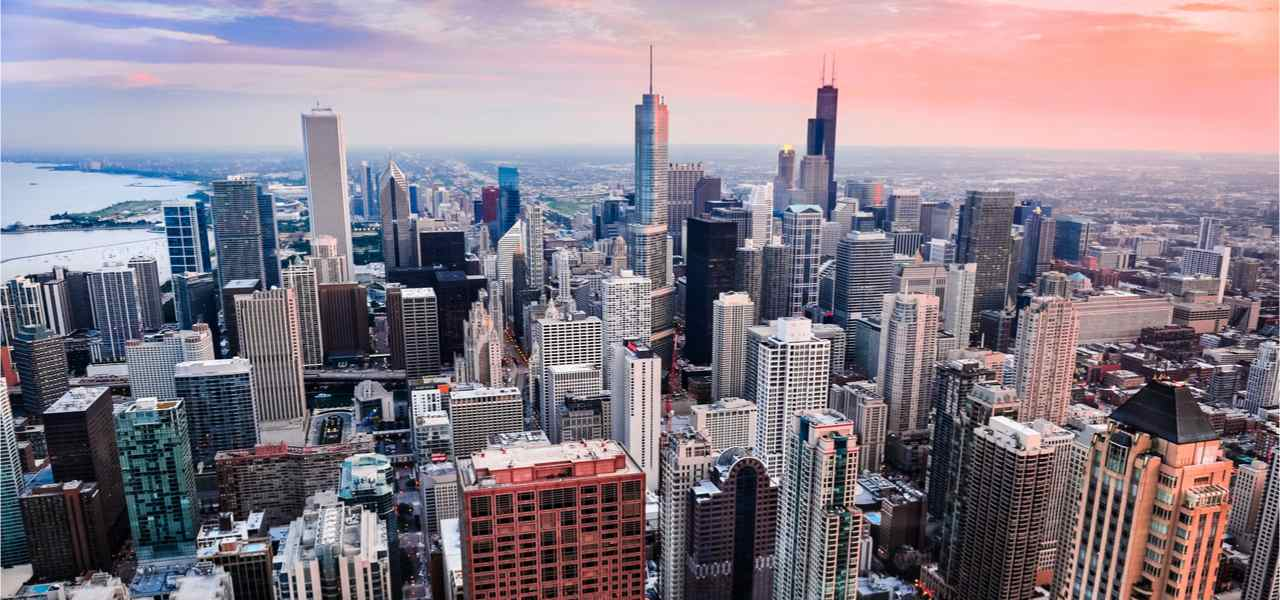 A skyline view of Chicago at sunset