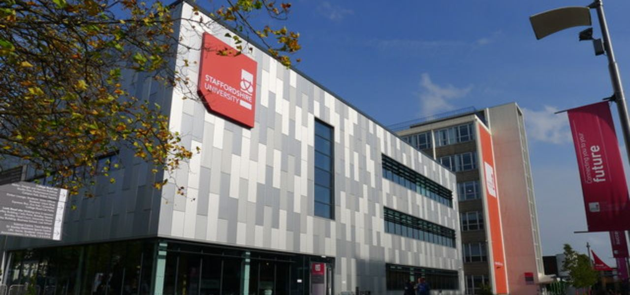 Outside of Staffordshire University on a sunny day.