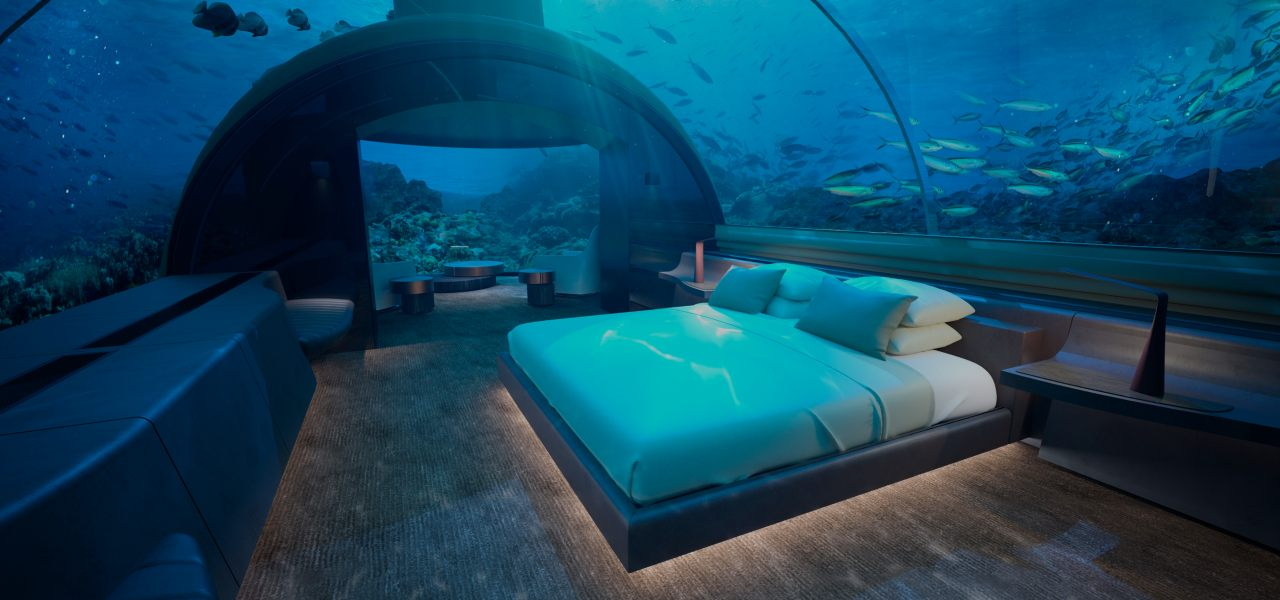 King guest suite in The Muraka underwater villa