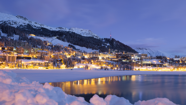 View over the lake of St Moritz