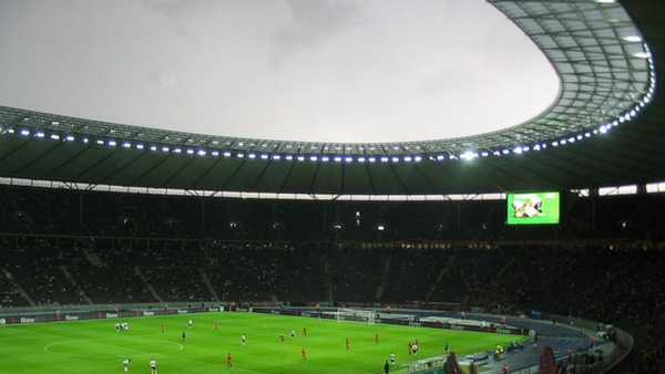 Olympiastadion in berlin during a match full of spectators