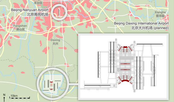 Map of Planned Airport in Beijing