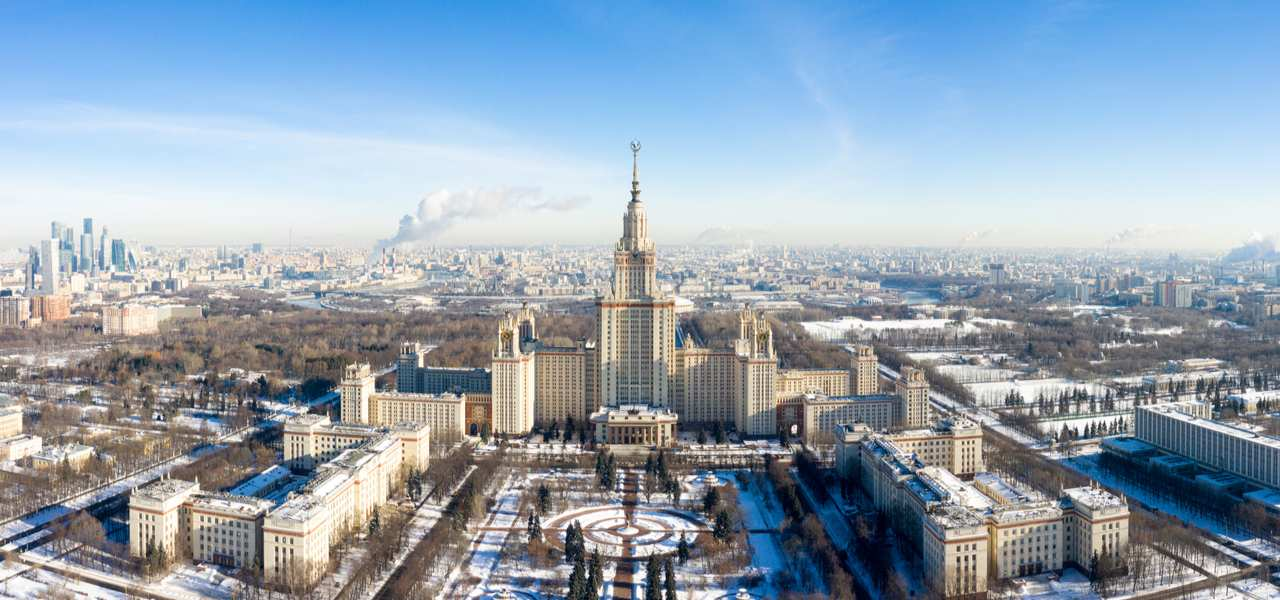 Front aerial view of Moscow State University on Sparrow Hills in winter