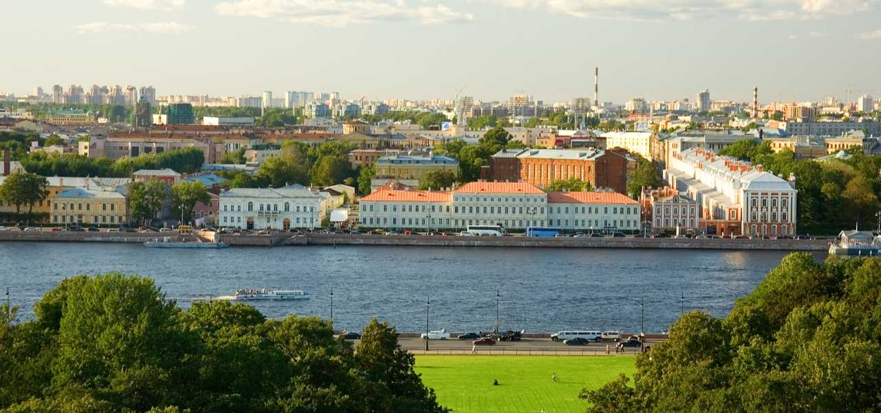 View of the main building of St.Petersburg State University across the Neva